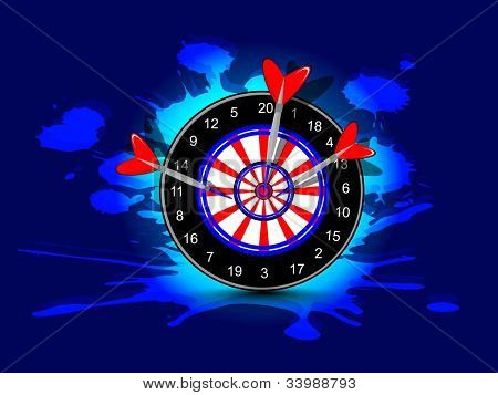Three darts hitting target, Arrow and bow game concept on grungy dark blue background.EPS 10.