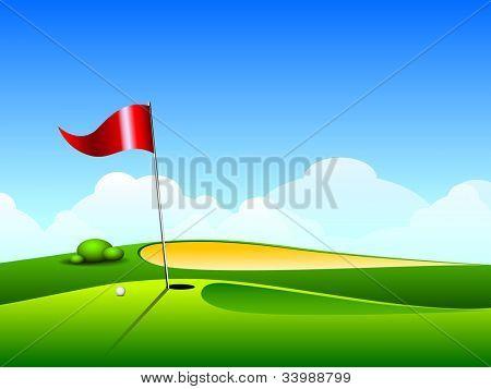 Bola de golfe no lábio perto de bunker de lindo belo campo de golfe com bandeira. EPS 10.