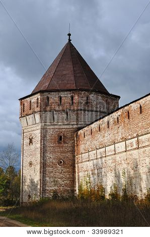 Corner Tower Of Ancient Russian Monastery