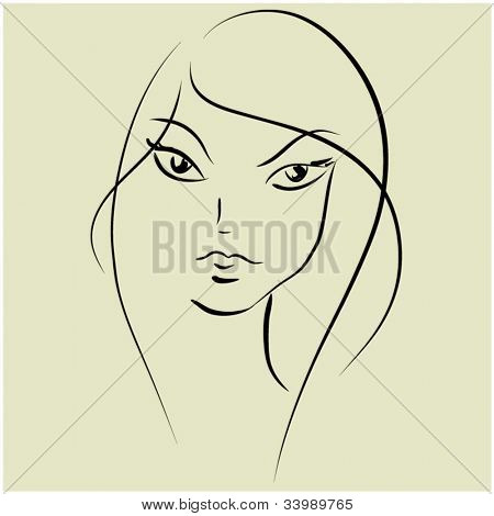 art sketching vector beautiful girl face