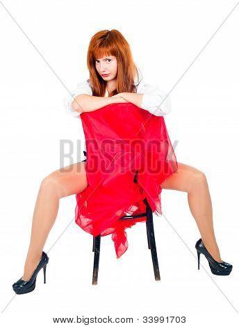 Pretty girl on chair