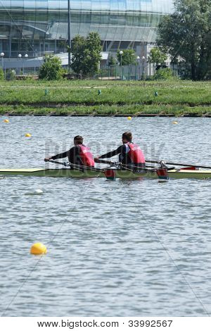 MOSCOW, RUSSIA - JUNE 9: Vitaliy Dunko and Mihail Baranovskiy (Belarus) in rowing competitions on double sculls during 51th International Grand Moscow Regatta in Moscow, Russia on June 9, 2012