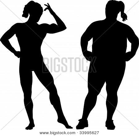 Silhouettes Of Bodybuilder And Fat Woman