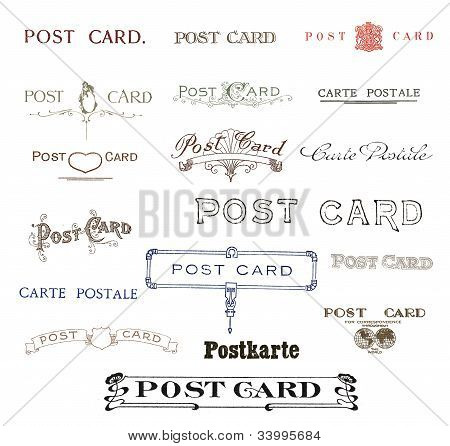 Historic postcard labels