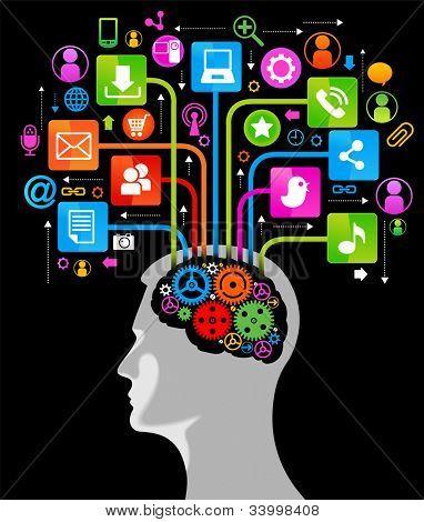 red social, la comunicación en las redes informáticas mundiales. silueta de una cabeza humana con un en