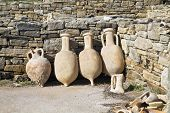 Ancient pottery wine amphora found in the ruins on the island of Delos, Greece.