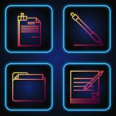Set Line Blank Notebook And Pen, Document Folder, File Document And Binder Clip And Pen Line. Gradie poster
