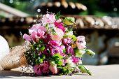 Wedding Bride Bouquet Pink Roses Purple Lisianthus Flowers & Lavender. Delicate Pink Gentle Lisianth poster