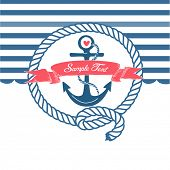Cute Nautical Background with anchor, rope, flag and a heart