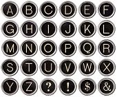 picture of ampersand  - Full alphabet of vintage typewriter keys including dollar sign ampersand exclamation and question marks - JPG