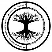 Scandinavian Pagan Symbol - Yggdrasil, World Tree - In The Ornamental Circle poster