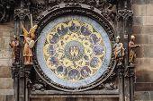 Astronomical Clock Orloj Closeup In Czech Republic, Europe. Vintage Style. Prague Clock Tower Detail poster