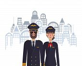 Woman And Man Pilots Design, Working Occupation Person Job Corporate Employee And Service Theme Vect poster