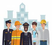 Professional Avatars Men Design, Working Occupation Person Job Corporate Employee And Service Theme  poster