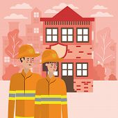 Firefighter Woman And Man Design, Working Occupation Person Job Corporate Employee And Service Theme poster