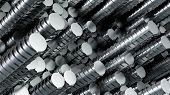 Stainless Steel Rods In Rows. Randomly Located. 3d Illustration. Great Industrial Background poster