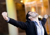 stock photo of excitement  - Successful businessman with arms up celebrating his victory - JPG