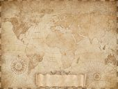 Vintage world map based on image furnished by NASA. Mixed media. poster