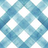 Watercolor Diagonal Stripe Plaid Seamless Texture. Teal Blue Stripes On White Background. Watercolou poster