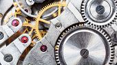 Clockwork Of Mechanical Pocket Watch With Ruby, Gears And Toothed Wheels poster