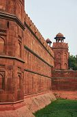 Red Fort Or Lal Qila In Delhi, India. Ancient Fortress Wall Made Of Red Sandstone . Architecture Of poster