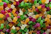 Lot Of Slices Of Multicolors Cube Marmalade. Top View. poster