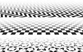 Perspectives With Checkered, Zig-zag And Penrose Mosaic Patterns, Perspective Distorted Surface With poster