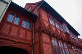 Odense, Denmark: Traditional Historic House In Odense, Denmark Hc Andersens Hometown. Facade On A Ho poster