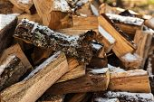 Firewood Stacked In Winter. Wood Pile With Snow Stacked For Firewood. Chopped Stock Of Firewood Unde poster