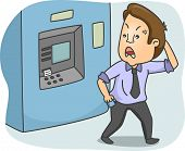 Illustration of a Frustrated Man Walking Away from an ATM