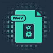 Green Wav File Document. Download Wav Button Icon Isolated On Blue Background. Wav Waveform Audio Fi poster