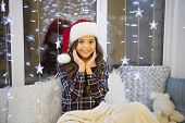 Add Some Glare To Your Look. Happy Child Celebrate Xmas And New Year. Little Girl Smile With Christm poster