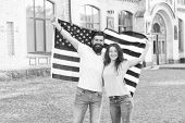 Our National Identity Is American. American Citizens Celebrating National Sovereignty. Bearded Man A poster