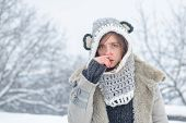 Sick In Winter. Cold Flu Winter Season, Runny Nose. Showing Sick Woman Sneezing At Winter Park. Youn poster