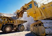 pic of heavy equipment  - Large earth moving heavy equipment used in mining and construction - JPG