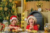 Santa Kids Making Cookie. Santa Chef. Christmas Cookies. Funny Children Making Cookies For Santa. Fu poster