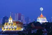 Bangkok City View Of Wat Ratchanadda And Wat Sraket Rajavaravihara Golden Mount With Full Moon Templ poster