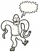 image of straight jacket  - cartoon man in straight jacket - JPG