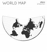 World Map. Globe In Albers Projection, With Graticule Lines Style. Modern Vector Illustration. poster