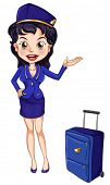 foto of air hostess  - Illustration of an air hostess on white - JPG