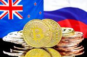 Concept For Investors In Cryptocurrency And Blockchain Technology In The New Zealand And Russia. Bit poster