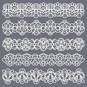 Lace Borders. Seamless Vintage Cotton Lace Eyelets, Horizontal Stripe Handmade. Embroidered Decorati poster