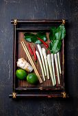 Asian Food Ingredients. Thai Herbs And Spices For Thai Cuisine On Autentic Thai Tray, Top View. poster