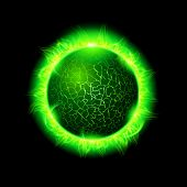Illustration Of A Green Fiery Ball Of A Burning Star, Solar Disk. Solar Flare Burning Around Astrolo poster