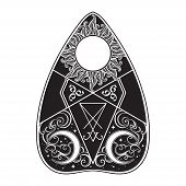 Planchette For Spirit Talking Board Vector Illustration. Mediumship Divination Equipment, Alchemy, R poster