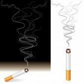 picture of cigarette-smoking  - Vector illustration of Smoke and Cigarette design - JPG