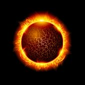 Illustration Of A Fiery Ball Of A Burning Star, Solar Disk. Solar Flare Burning Around Astrological  poster