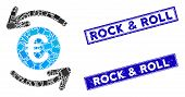 Mosaic Update Euro Balance Pictogram And Rectangle Rock And Roll Seal Stamps. Flat Vector Update Eur poster