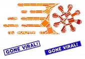 Mosaic Gone Viral Pictogram And Rectangle Gone Viral Exclamation Watermarks. Flat Vector Gone Viral  poster
