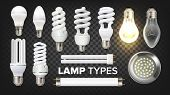 Led, Fluorescent And Incandescent Lamps Set Vector. Collection Of Different Energy-saving Eco-friend poster